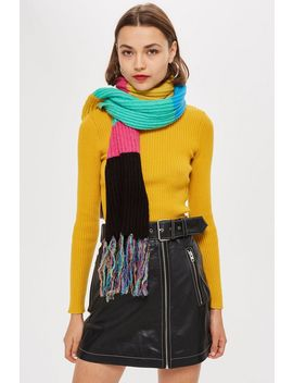 Stripe Ribbed Scarf by Topshop
