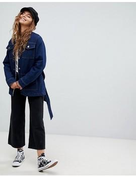 Asos Design – Blå Jacka I Denim Med Skärp Och Teddyfoder by Asos
