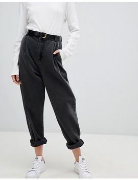 Asos Design – Svarta Avsmalnande Jeans Med Uppvikt Nederkant Och Skärp by Asos