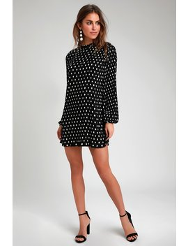 Pleat To Meet You Black Polka Dot Long Sleeve Shift Dress by Lulus
