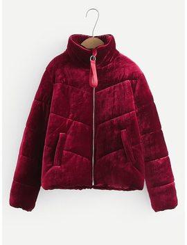 Zipper Fly Velvet Puffer Coat by Sheinside