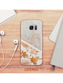 Floral Marble Case For Samsung Galaxy S9 Stone Marble Case For Samsung Galaxy S8 Gold Floral Case For Samsung Galaxy S7 by Etsy
