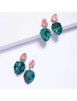Raw Rose Quartz Earrings, Monstera Leaf Earrings, January Birthstone Earrings, Raw Crystal Earrings, Dangle Earrings, Statement Earring Erl1 by Etsy