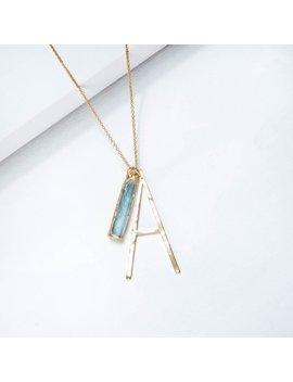 Personalized Raw Aquamarine Necklace, Personalized Jewelry, Initial Necklace, Raw Aquamarine Pendant, Crystal Necklace, Gemstone Necklace by Etsy