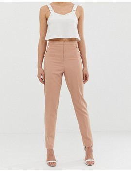 Asos Design Tall Slim Pants With Military Button Detail by Asos Design