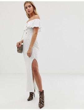 Asos Design Bardot Fit And Flare Slub Maxi Dress by Asos Design