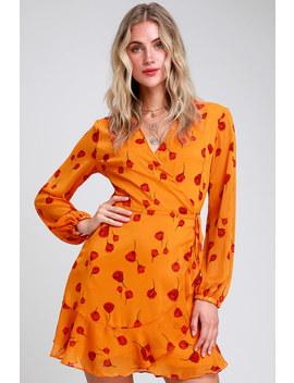 Mareena Orange Floral Print Long Sleeve Wrap Dress by Lush