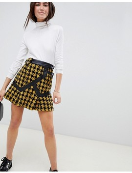 Asos Design Houndstooth Check Mini Wrap Kilt With Buckle by Asos Design