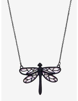 Dragonfly Moonstone Iridescent Necklace by Hot Topic