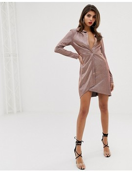 Asos Design Sparkle Sexy Drape Bodycon Shirt Dress by Asos Design