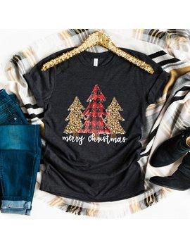 Merry Christmas Shirt Trees Cheetah Print Buffalo Check Plaid by Etsy