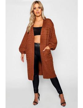 Plus Cable Knitted Pocket Cardigan by Boohoo
