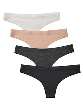 Beauty Lean Womens Thong Underwear Seamless Laser Cut No Show Panties Invisible Bikini Bottoms Pack Of 4 by Beauty Lean