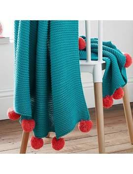 Pom Pom Knit 150cm X 120cm Throw by Dunelm