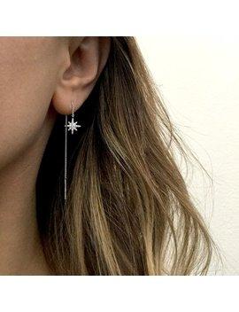 Sterling Silver Starburst Earrings, Sterling Silver Threader Earrings, Chain Earrings, Chain Ear Threader, Star Earrings, Ear Thread by Etsy