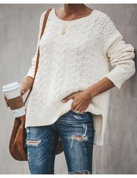 Vanilla Spice Cotton Cable Knit Sweater by Vici