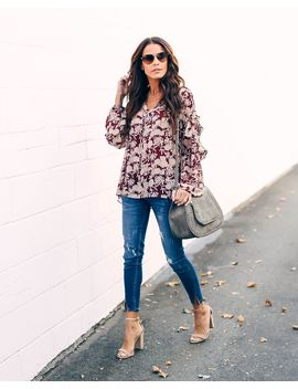 Meridian Floral Ruffle Blouse by Vici