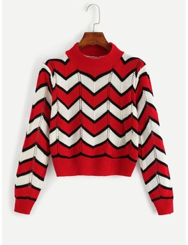 Color Block Striped Crop Sweater by Romwe