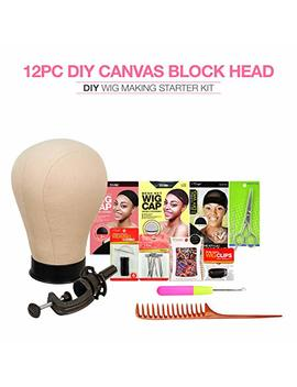 "Studio Limited Canvas Block Head Diy Wig Making Starter Kit 12pcs (23"") Mannequin Head Wig Display And Stand For Wig Styling by Studio Limited"