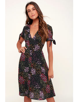 Austyn Black Floral Print Tie Sleeve Midi Dress by Lulus