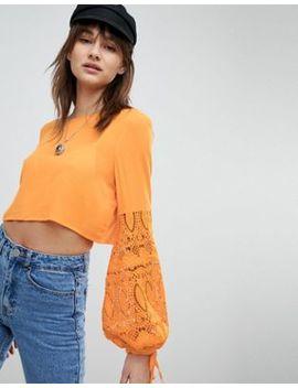 Vero Moda Crochet Sleeve Crop Top by Vero Moda
