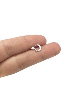 Moon And Star Stud Earrings In Sterling Silver , Dainty Studs, Asymmetrical Earrings, Star Studs, Crescent Moon Earrings ,Bohemian Jewelry by Etsy