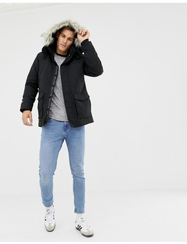 Hollister All Weather Faux Fur Trim & Lining Hooded Parka In Black by Hollister