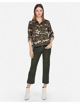 Camo Lace Up Silky Soft Twill Shirt by Express