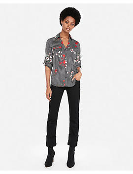 Petite Slim Fit Floral Gingham Portofino Shirt by Express