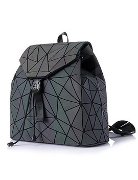 Hot One Shard Lattice Design Geometric Backpack Holographic Reflective Backpacks Pu Leather Fashion Backpack (Luminous No.4) by Hotone