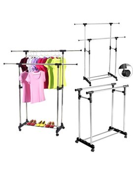 Ktaxon Adjustable Rolling Garment Rack Heavy Duty Clothes Hanger Portable Rail Rack by Ktaxon