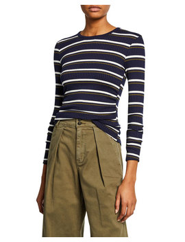 Shirred Long Sleeve Striped Top by Frame
