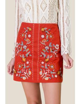 Karessa Embroidered Mini Skirt by Francesca's