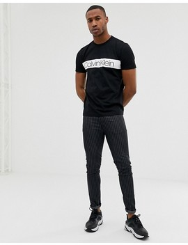 Calvin Klein Chest Stripe Logo Front T Shirt In Black by Calvin Klein