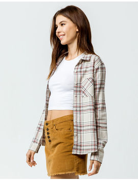 Destined Two Pocket Boyfriend Ivory Womens Flannel Shirt by Destined
