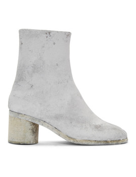 Grey & White Painted Tabi Boots by Maison Margiela