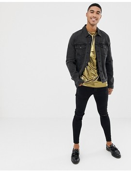 Asos Design Longline T Shirt In Metallic Fabric In Gold by Asos Design