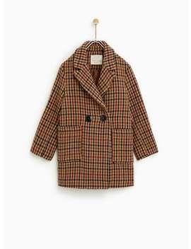 Checked Double  Breasted Coat Coats Coats Girl by Zara