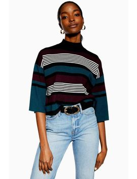 **Striped Cropped Knitted Jumper By Native Youth by Topshop