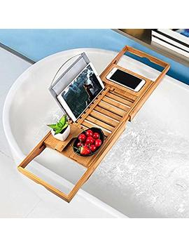 Bathtub Tray Oobest Bamboo Bathtub Caddy Tray With Extending Sides Adjustable Book Holder With Premium Luxury Tray Organizer For Phone And Wineglass (Natural Bamboo Color) by Oobest