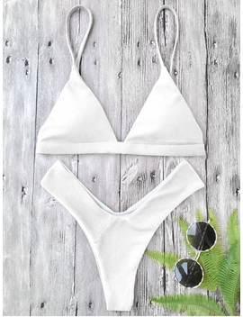 Plunge Padded Textured High Cut Bikini Set   White L by Zaful