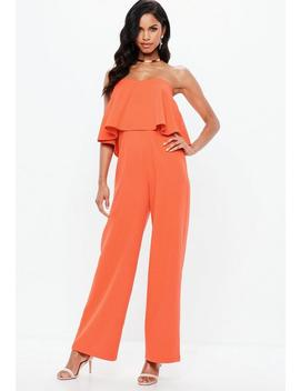 Orange Double Layer Bandeau Wide Leg Jumpsuit by Missguided