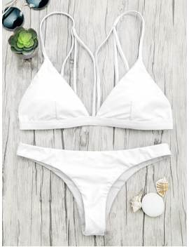 Padded Back Strappy Bathing Suit   White M by Zaful