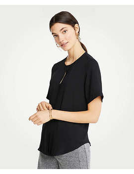 Pleat Front Keyhole Tee by Ann Taylor