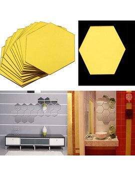 Heepo 12 Pcs Mirror Hexagon Removable Acrylic Wall Stickers Art Diy Home Decor Decals by Heepo