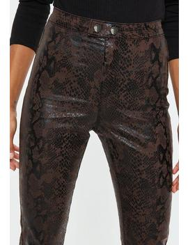 Brown Croc Coated Skinny Double Popper Jeans by Missguided