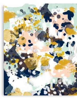 Sloane   Abstract Painting In Free Style Navy, Mint, Gold, White, And Turquoise by Charlottewinter