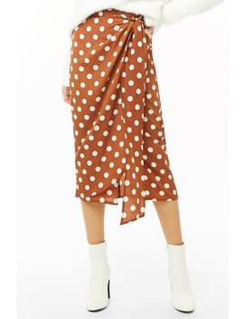 Polka Dot Wrap Midi Skirt by Forever 21
