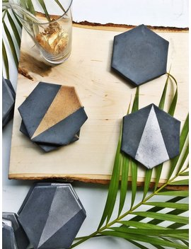 Charcoal Hexagon Concrete Coaster With Gold (Set Of Four) by Etsy