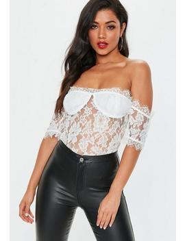 White Lace Cupped Bardot Bodysuit by Missguided